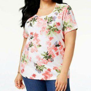 Karen Scott Floral Butterfly T Shirt NWT